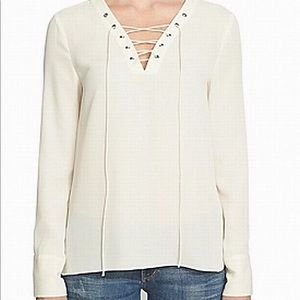 1. State High-Low White Blouse